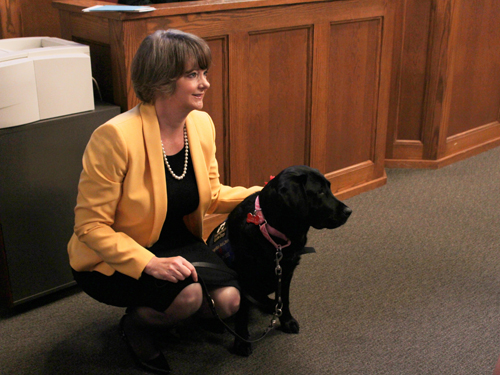 Judge Bonner and therapy dog