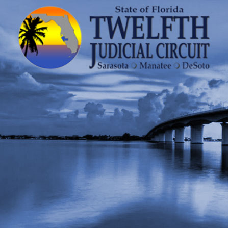 12th Judicial Circuit logo over photo of John Ringling Causeway